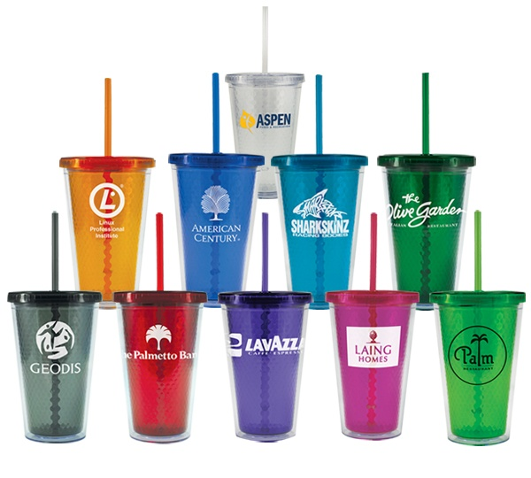 These colorful, faceted tumblers would make a great warm weather promotion!