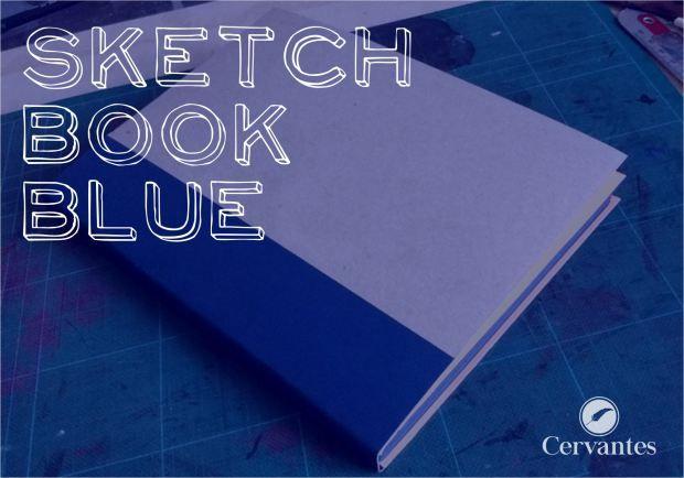 Cervantes SketchBookBlue, caderno com miolo de 40 folhas, papel Color Plus Azul 180 g/m², formato 21 X 15 cm. Guarda Laranja e Capa Mole.