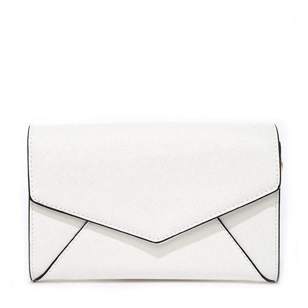 Upper Terrace White Purse ($35) ❤ liked on Polyvore featuring bags, handbags, clutches, white purse, white clutches, special occasion handbags, handbags purses and vegan purses
