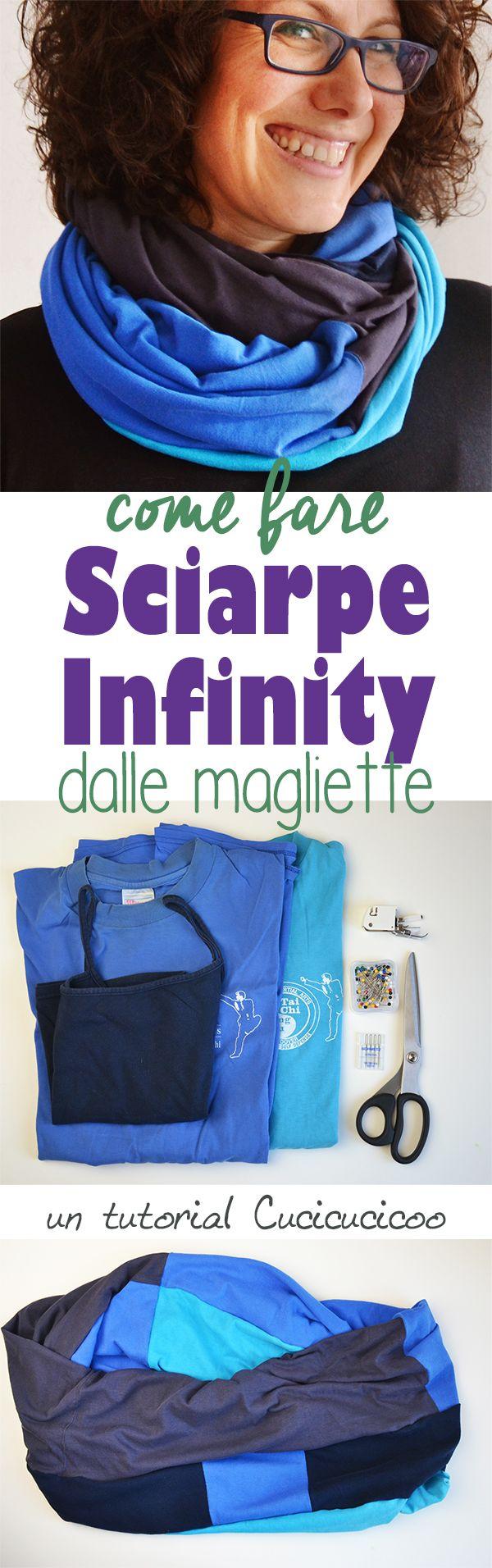 Crea un accessorio comodo dalle vecchie magliette, anche se strappate o macchiate! Questo refashion tutorial mostra come tagliare le magliette e ricomporle per fare una sciarpa infinity colorata ed unica! www.cucicucicoo.com