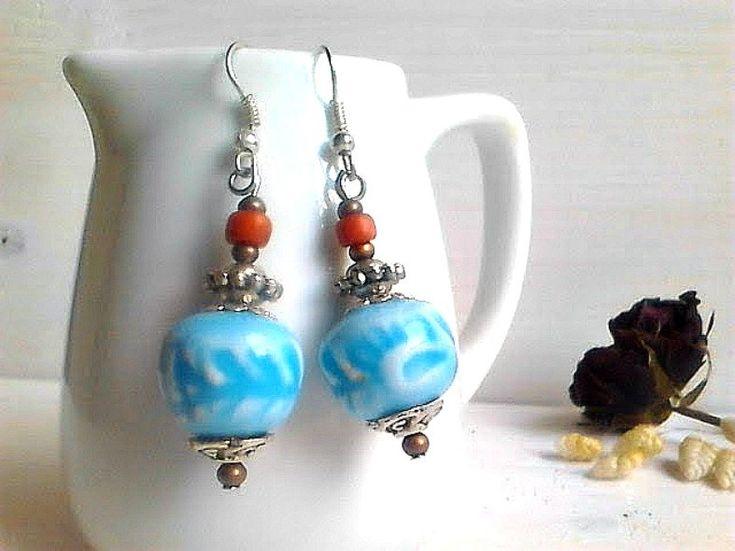 Blue turquoise earrings, Tribal earrings,  Indian style earrings, Turquoise jewellery, Blue jewelry, Boho Summer earrings, Ethnic jewelry