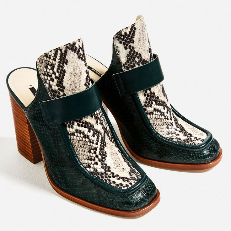 CONTRAST LEATHER HIGH HEEL MULES-View all-SHOES-WOMAN | ZARA United States