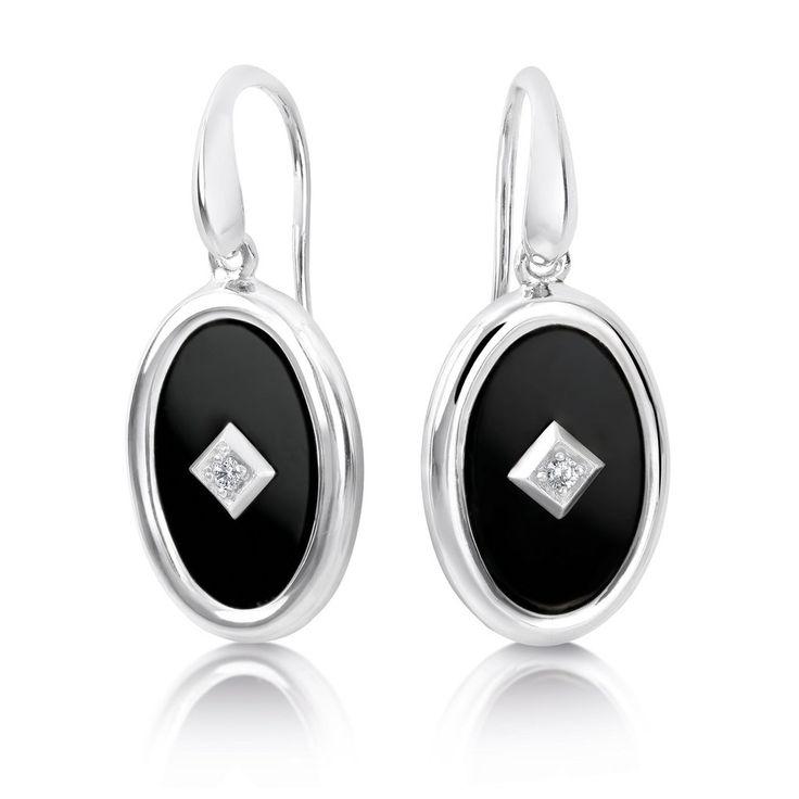 Sterling silver onyx & CZ earrings