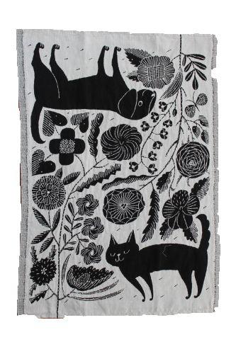 Lapuan Kankurit×鹿児島睦 Kitchen Towel KOIRA JA KISSA イヌとネコをモチーフにしたイラストがかわいいアイテムです