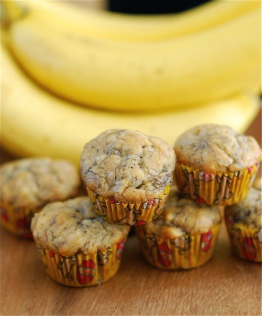A recipe for mini banana bread muffins that are perfect for school snack or for serving at adult brunch parties.