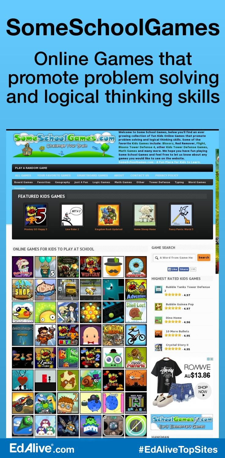 SomeSchoolGames | Online Games that promote problem solving and logical thinking skills | An ever growing collection of fun Kids Online Games that promote problem solving and logical thinking skills. Some of the favourite Kids Games include: Bloxorz, Red Remover, Flight, Bloons Tower Defence 4, other Kids Tower Defence Games, Math Games and many more. A Fun Place for Kids to Learn.  #CrossCurricular #EdAliveTopSites