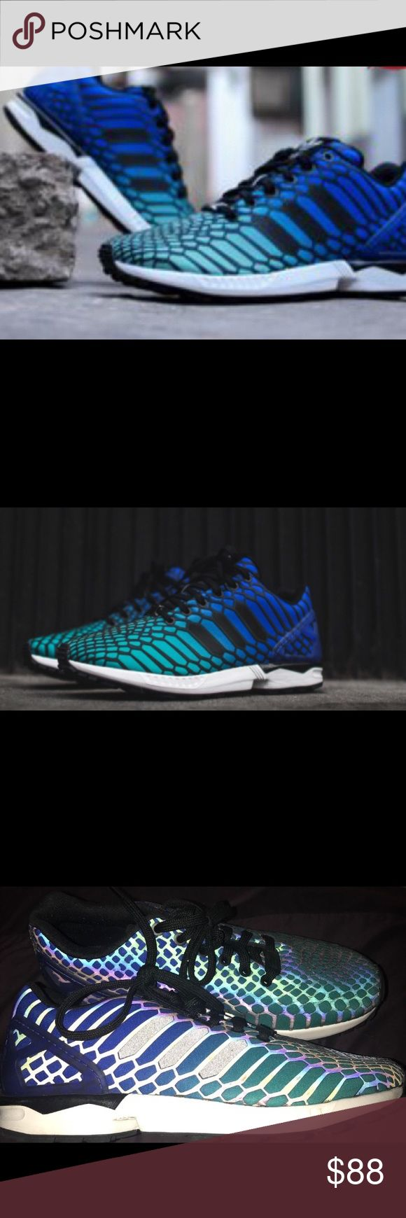 Womens White Bright Black Adidas Zx Flux Weave W Cyan Shoes 100% Authentic