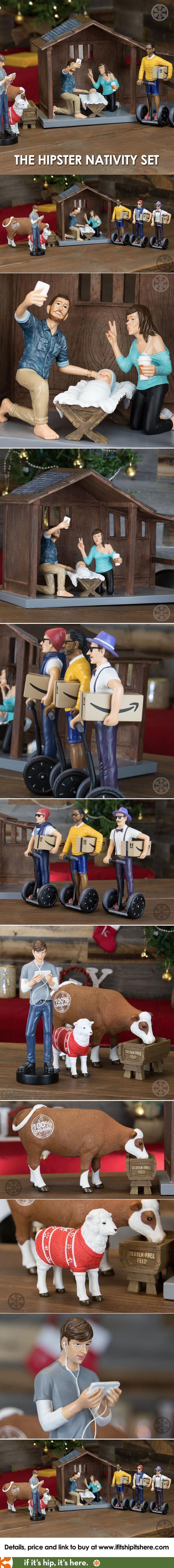 The Modern Nativity Set designed for Millennials. Details to purchase at http://www.ifitshipitshere.com/hipster-nativity-set/