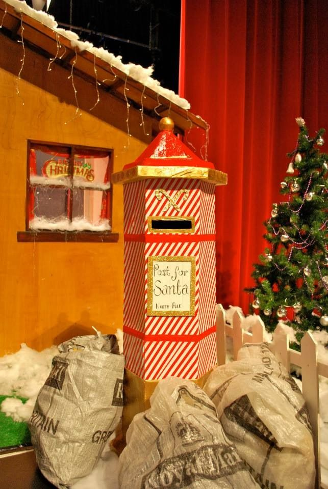 The finished Christmas postbox at the Santa grotto!  www.facebook.com/estherholleyartist  www.estherholley.co.uk  Festive. Christmas. Santa. Mail.