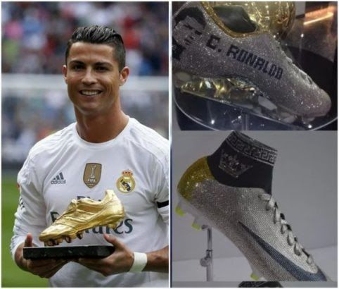 """Real Madrid star Cristiano Ronaldo recently hired Nigerian designer Tokunbo Daniel who has had famous clients all over the world to help him make 3 Diamond-encrusted boots.  The boots which commemorates his premier league stay were put on display as his latest exhibit at the Cristiano Ronaldos museum and Tokunbo Daniel really did magic with the job.  Cristiano Ronaldo""""s 2nd customised boot to commemorate his time playing in the Barclay's Premiership at Manchester United by @bytdaniel now on…"""