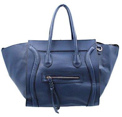 Blackcherry Navy Blue Celine Style with Front Zip Detail Handbag
