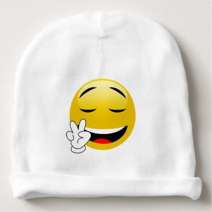 #cute #baby #beanies #babybeanies - #Emoji With Peace Sign Hands Baby Beanie