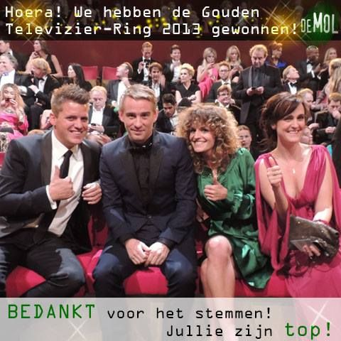 18-10-2013 Winner of the Golden Television Ring: Wie Is De Mol (The Mole)