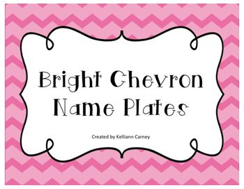 Brighten up your students' desk with these chevron name plates! Chevron is a big trend right now in classroom so your students will be sure to enjoy them. The name plates come in 7 different colors of chevron:-pink-purple-yellow-orange-blue-teal-greenThese name plates are half of a sheet of paper so they are large.