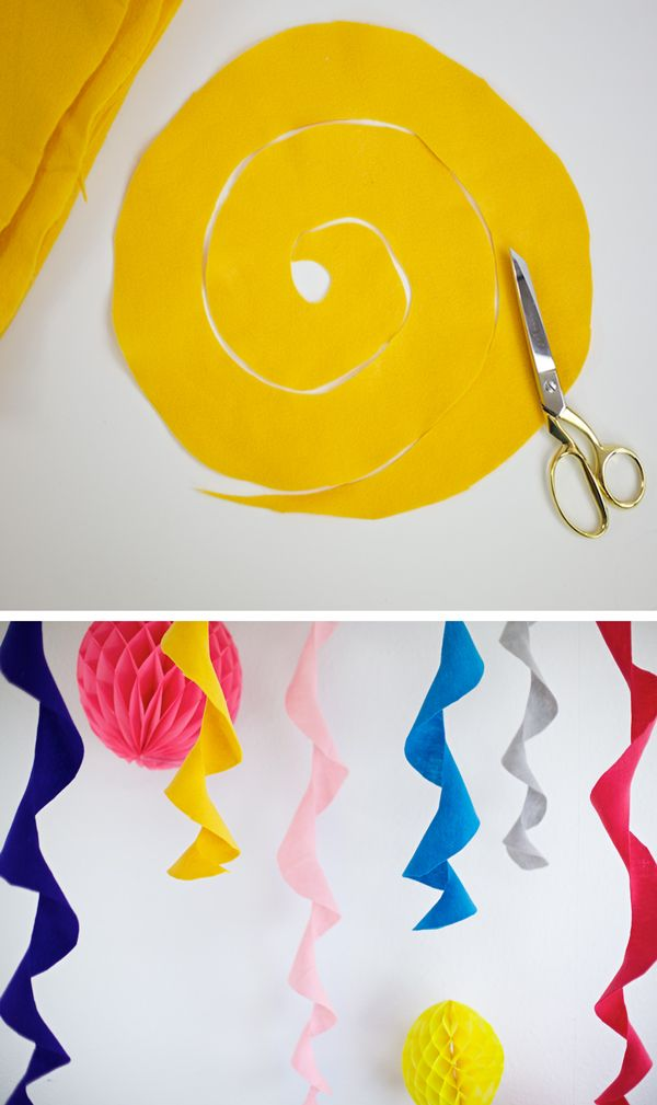 Felt circle party streamers -