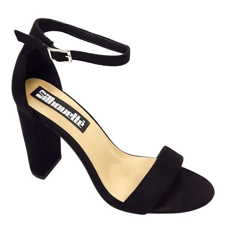 Simpele zwarte sandaaltjes met een smal bandje voor en een brede hak shop je bij jouw favoriete online schoenenwinkel met alleen maar hoge hakken