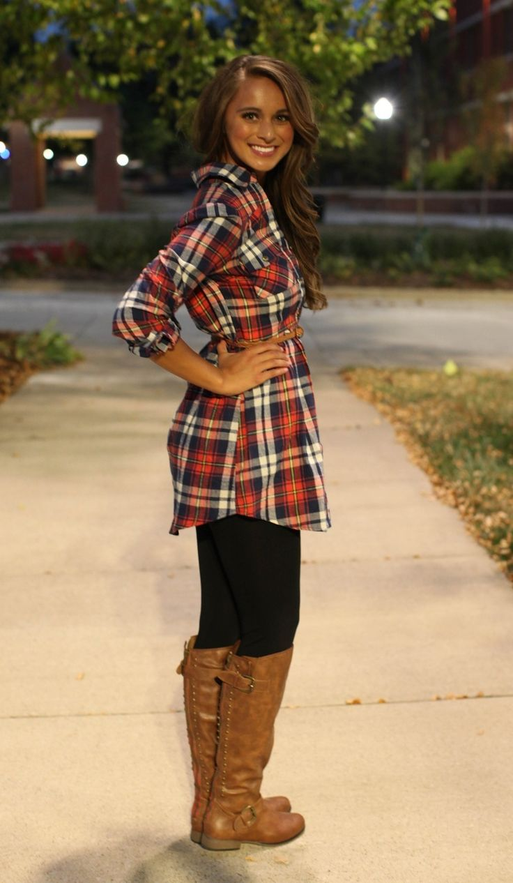 the pink lily boutique  red flannel belted tunic dress