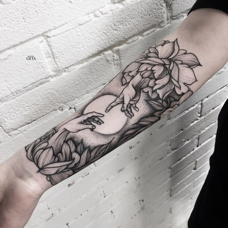 creation of adam, hand, flower, arm tattoo, tattoo for woman