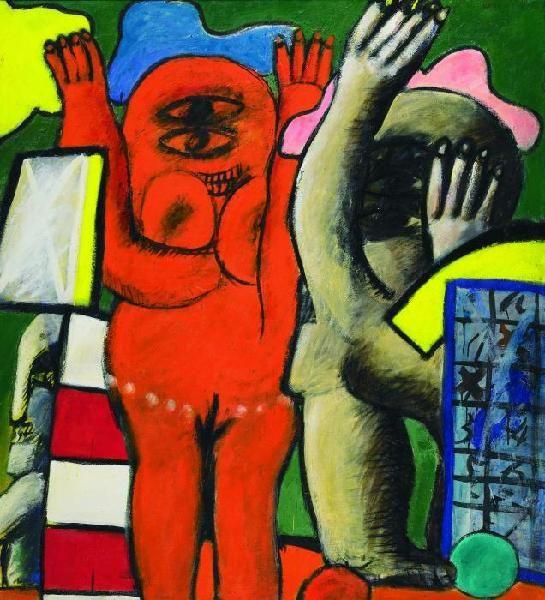"""Horst Antes: Beteiligte sich mit am """"Gemeinschaftsbild Ost-West"""", welches in unserer Ausstellung """"WIR 1 – Acting in Concert"""" zu sehen ist.  Paar (Spieler) 1963. Ei-Öl Tempera auf Leinwand. 111 x 100,5cm."""