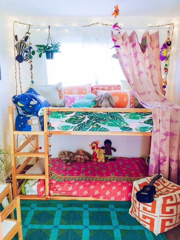 Wallpaper the panels of your kid's Kura bed. | 42 Borderline Genius Ikea Upgrades That Only Look Expensive