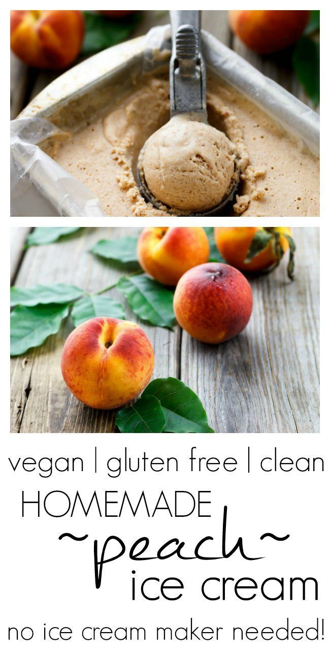 Homemade Peach Ice Cream - no machine needed! #vegan #glutenfree #cleaneating