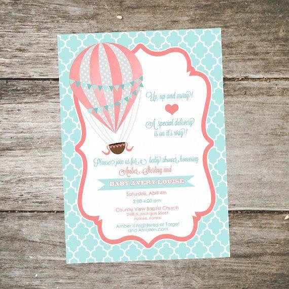 Hot Air Balloon Baby Shower Invitation Mint by SabraTurnerDesigns