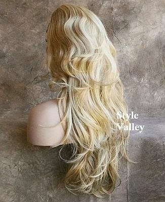 (Ad) Blonde Mix 3/4 Wig Fall Hairpiece Long Wavy Half Wig Layered Hair Piece XL