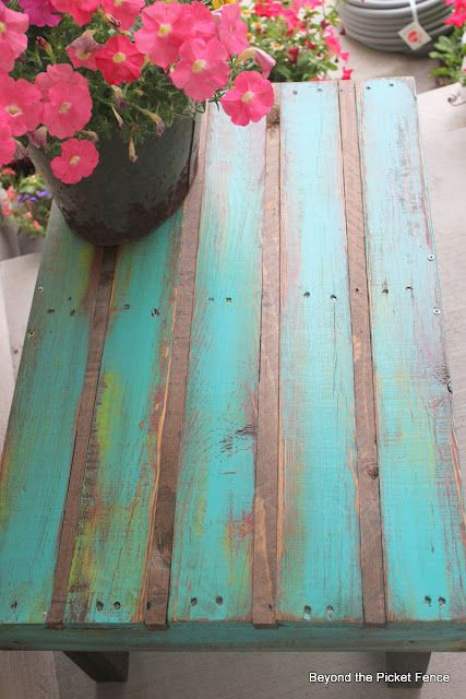 DIY: Coffee Pallet Table from Beyond The Picket Fence blog. Back porch possibility!!!