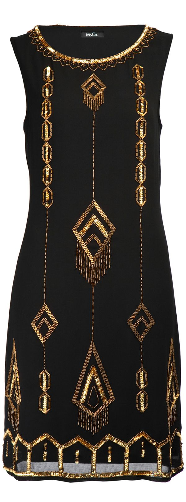 Read about 1920's fashion trend - art deco dress M and Co - CLICK TO READ ARTICLE at http://boomerinas.com/2013/05/roaring-twenties-flapper-fashions/