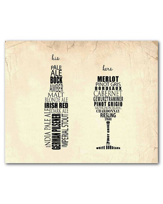 Wine Wall Art - His Her Art - Beer bottle typograhy - wine glass typography…