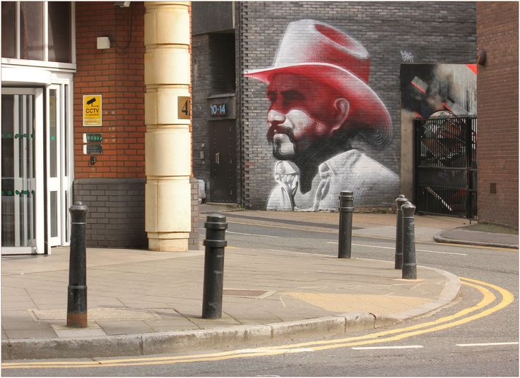 'Un Campechano En Londres' by American artist, El Mac  The building in Hewett Street, London, on which this was painted has now been demolished and the painting, presumably, destroyed along with it.