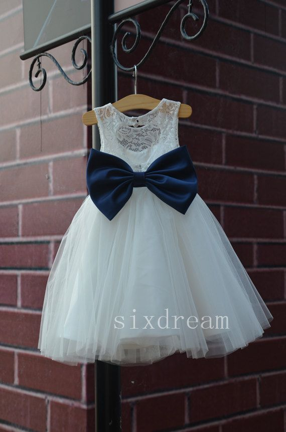 Ivory Lace Navy blue sash/bow Flower Girl Dress White by sixdream, $52.00