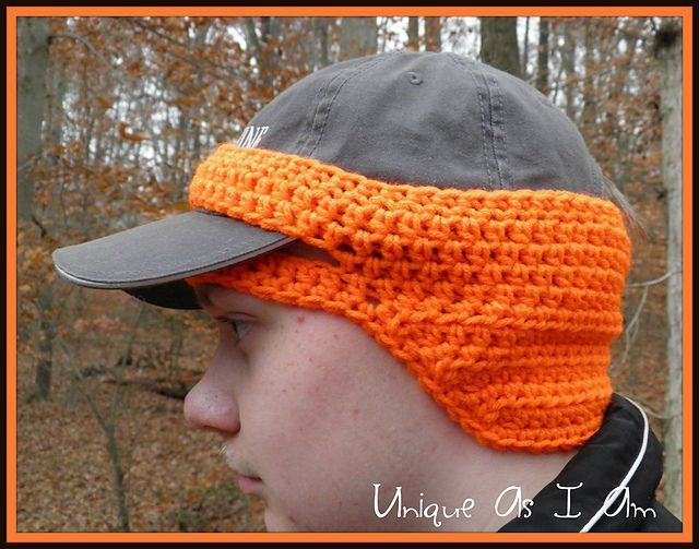 Wow what a great idea for that hunter or fisherman in your family! Crochet pattern ear warmer for baseball cap #TheBestBaseballGloves&Clothes