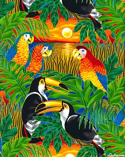 These brilliant tropical birds welcome you to a serene island escape. At eQuilter.com