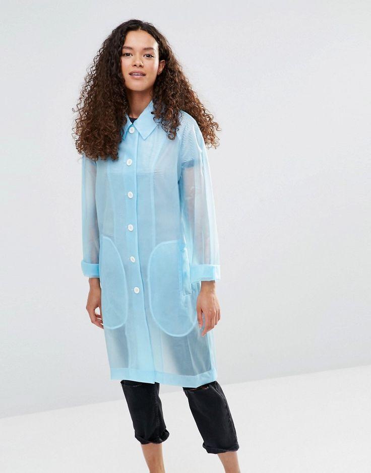Image 1 ofYMC Blue Sheer Rubber Raincoat
