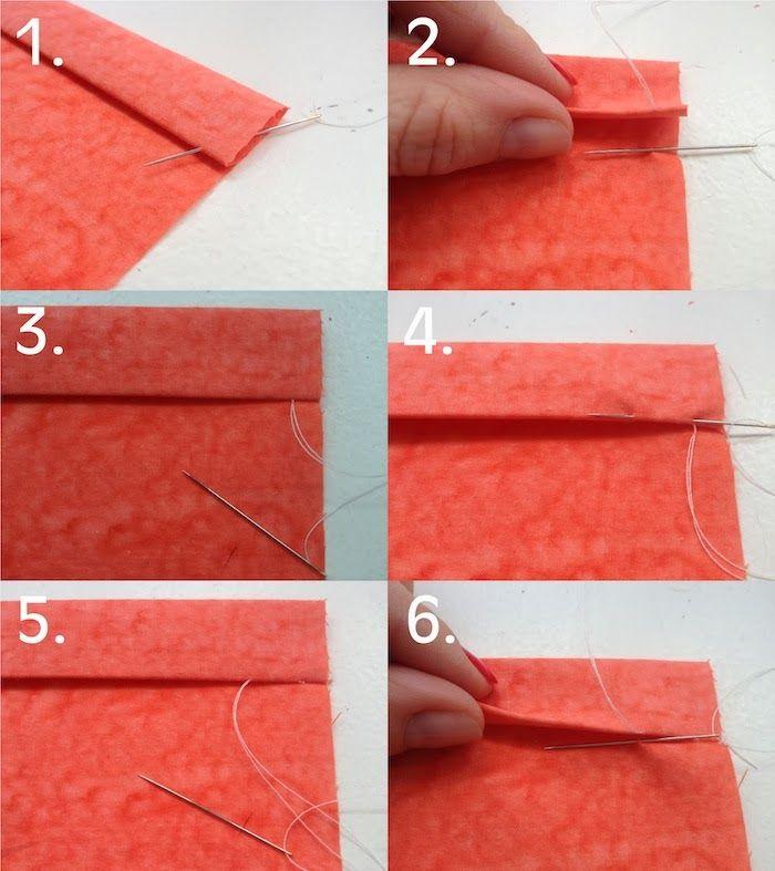 Dobladillo ciego-Puntada invisible ideal dobladillo,interior cinturilla,coser mangas.Dobla tela.Inserta aguja través borde doblado,saca hilo a través(fig1)Recoge par hilos tela bajo lugar donde está el hilo(fig2)Pasa hilo a través.Si coges más tela,puntada no será invisible y se verá por derecho(fig3)Vuelve a insertar aguja en borde doblado encima punto por el que acabas pasar aguja(fig4)Usando borde doblado de tela como guía desliza aguja +-1cm,Sácala(fig5)Repite pasos 2 a 5,veces…