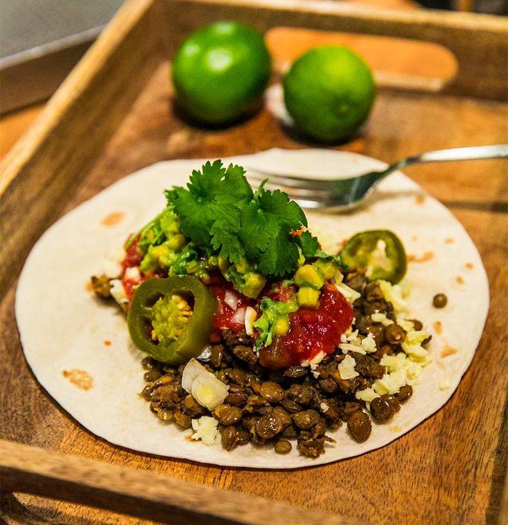 Vegetariska tacos med linsröra