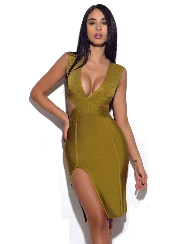 Perla Cut Out Detail Olive Green Bandage Dress