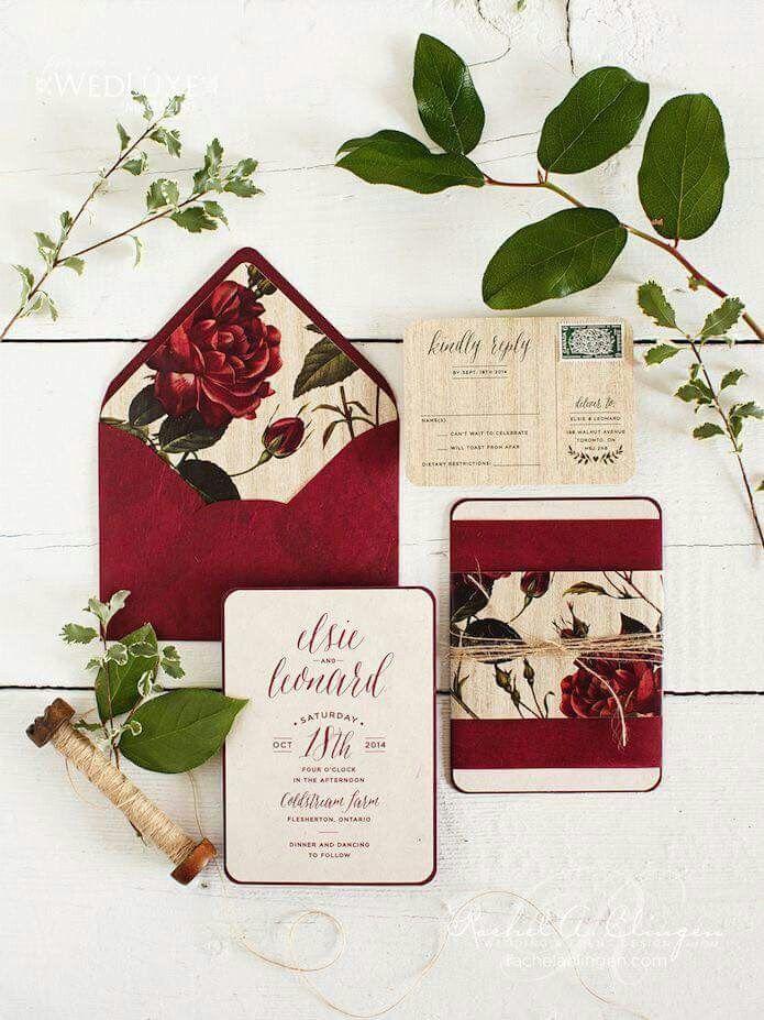 Wedding invitation card dark red