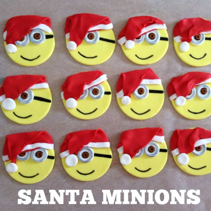 Christmas Minions wearing Santa Hats. Edible Cupcake Toppers by Easy Cake, Medowie, New South Wales, Australia. You'll find this Cake Appreciation Society Member in our Directory at www.cakeappreciationsociety.com