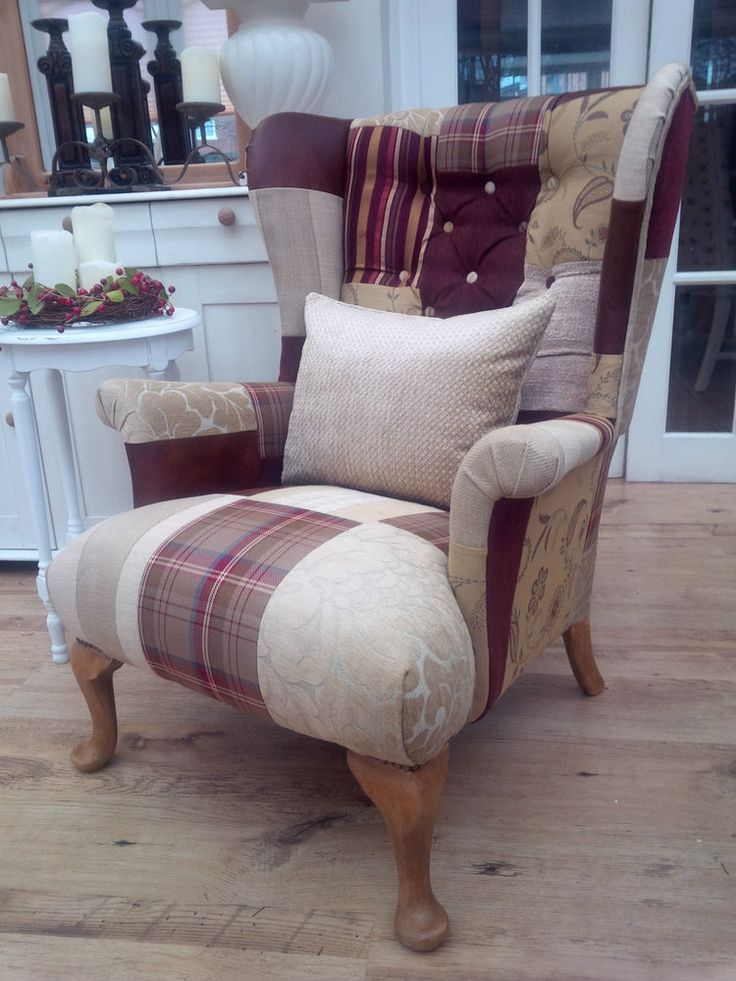 Patchwork Parker Knoll Queen Anne Wingback Armchair.