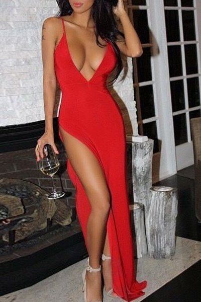 Sexy Red Spaghetti Strap High Slit Dress For Women