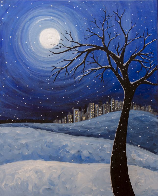 Pin By A Scott On Awesome Artworks Tree Painting Winter Painting Winter Drawings