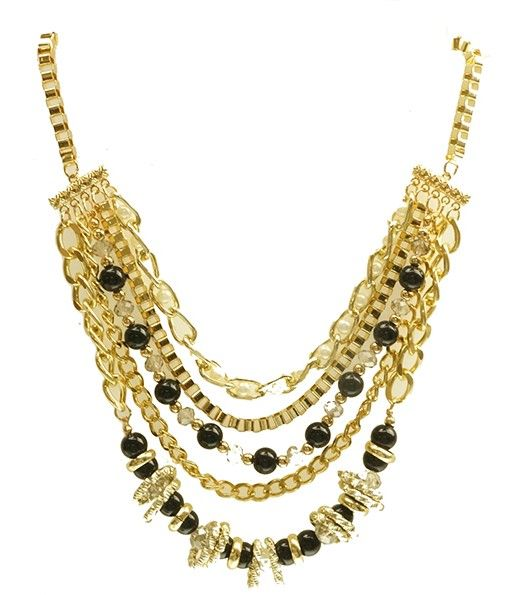 Necklace with gold and black colouring and Diamontes.