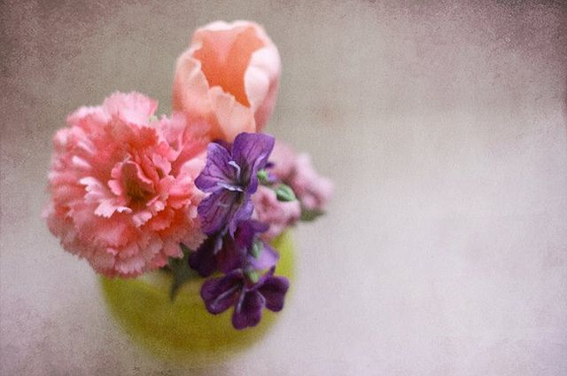 Flowers on a vase, textured with paper art