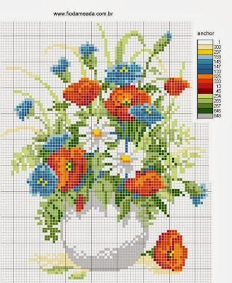 Tanti mazzi di fiori da ricamare a punto croce