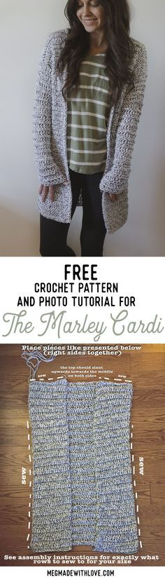 The Marley Cardi - A Long & Chunky Cardigan Sweater - Free Crochet Pattern at Megmade with Love