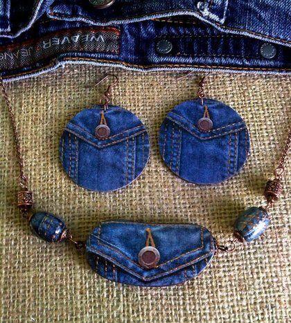 """Комплект украшений """"Весь этот джинс.."""" - тёмно-синий,джинс,браслет,джинсовый стиль"""