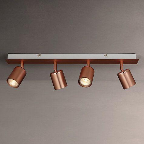 Buy John Lewis Mode GU10 LED Spotlight Bar, 4 Light, Copper Online at johnlewis.com
