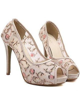 Floral Peep Toe Stilettos